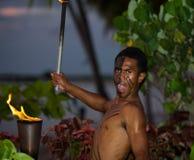 Éclairage de torche au coucher du soleil Photo libre de droits