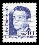 Claire Chennault, Great Americans serie, circa 1990. MOSCOW, RUSSIA - MARCH 23, 2019: A stamp printed in United States shows Claire Chennault, Great Americans stock images