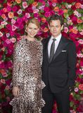 Claire Danes and Hugh Dancy at 2018 Tony Awards. Actress Claire Danes and English husband and actor, Hugh Dance, arrive on the red carpet for the 72nd Annual royalty free stock photos