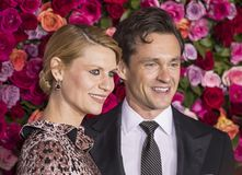 Claire Danes and Hugh Dancy at 2018 Tony Awards. Actress Claire Danes and English husband and actor, Hugh Dance, arrive on the red carpet for the 72nd Annual stock image