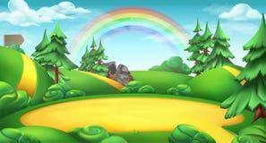 Clairière à un arrière-plan de vecteur de paysage de nature de forêt illustration stock