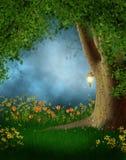 Clairière de forêt avec des fleurs Photographie stock libre de droits