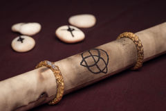 Clairvoyance equipment with parchment Stock Photography