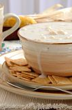 Clam Chowder. A steaming bowl of clam chowder with crackers Stock Images