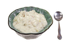Clam Chowder Bowl and Spoon Stock Photo