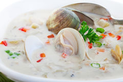 Clam Chowder. New England Clam Chowder close up Stock Photo