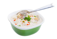 Clam Chowder Soup. A bowl of New England Clam Chowder soup with a clipping path Royalty Free Stock Photography