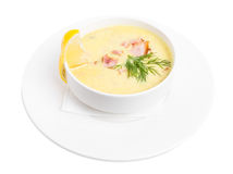 chowred soup with roast bacon. Royalty Free Stock Image