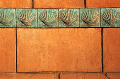 Clam Shell border on rust stone Stock Photo