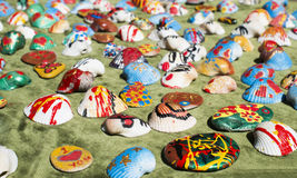 Clam shells souvenirs. Painted figures Stock Photography