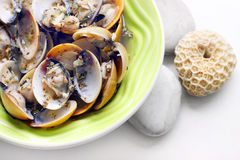 Clam in white wine dish Stock Images