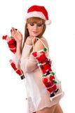 clamber klauzula dziewczyny Santa seksowny up zdjęcia stock