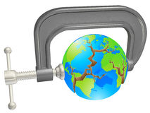 Clamp breaking world globe. Concept for environmental or other problems Stock Image