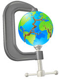 Clamp cracking globe concept. Illustration of a clamp cracking a world globe concept Stock Images