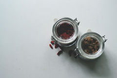 Clamp glass jar with grains. Grains storing in the clamp glass jar view from top stock photos