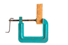 Clamp. Metal clamp isolated on a white background. Horizontal position Royalty Free Stock Photography
