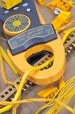Clamp meter tool for measuring electrical installations Royalty Free Stock Images