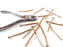 Clamp and nails. Royalty Free Stock Photography