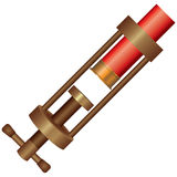 Clamp for shotgun ammunition. With loaded cartridge royalty free illustration