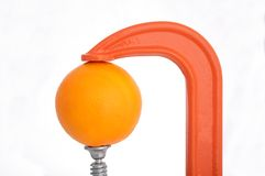 Clamp squeezing an orange Stock Images