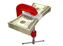 Clamped American Dollar Notes Stock Photo