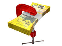Clamped Australian Dollar Notes. A red clamp clamping down on a bundle of fifty australian dollar bills on an isolated studio background Royalty Free Stock Photos