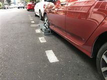 Clamped Car in the street Stock Photo