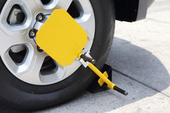 Clamped front wheel wit Stock Photo