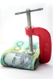 Clamped Paper Money Isolated Stock Images