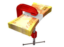 Clamped South African Rand Notes Royalty Free Stock Photo