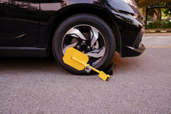 Clamped vehicle, wheel locked Stock Images