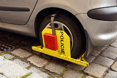 Clamped wheel Stock Photo