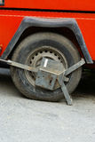 Clamped wheel car blocked royalty free stock photography