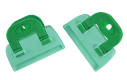 Clamps isolated - green-blue Stock Photography