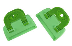 Clamps isolated - green Royalty Free Stock Photos