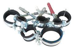 Clamps for pipes royalty free stock photos