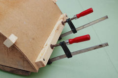 Clamps are used for gluing  workpiece Royalty Free Stock Photography