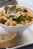 Clams and beans,Asturias style.Spanish cuisine. Royalty Free Stock Images