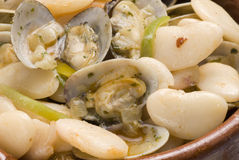 Clams and beans,Asturias style.Spanish cuisine. Royalty Free Stock Photography