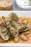 Clams and beans,Asturias style.Spanish cuisine. Stock Images