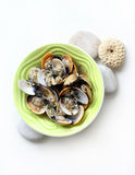 Clams cooked white wine, herbs Stock Images