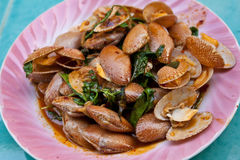 Clams fried. With roasted chili paste Royalty Free Stock Photography