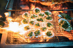 Clams on hot grill Royalty Free Stock Photography