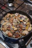 Clams in the pan Royalty Free Stock Photos