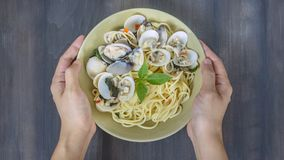 Clams pasta seafood dish Royalty Free Stock Images