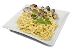 Clams sauce with spaghetti Royalty Free Stock Images