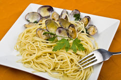 Clams sauce with spaghetti Stock Images