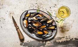 Clams on a tray with wine. On rustic background. Royalty Free Stock Images