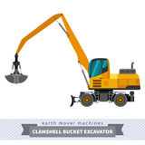 Clamshell bucket material mover machine. Material handler clamshell bucket material mover machine. Vector isolated illustration Royalty Free Stock Photos