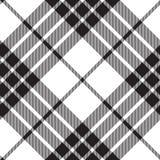 Clan cameron tartan diagonal seamless pattern black and white Stock Images